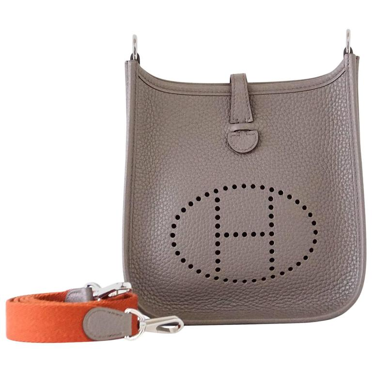 HERMES Bag Evelyne TPM Mini Etain Clemence Cuivre Strap Sold Out Colour For  Sale c2ef1d73c4bf