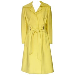 Mod Originala Coat Bright Yellow Wool with Tie Waist