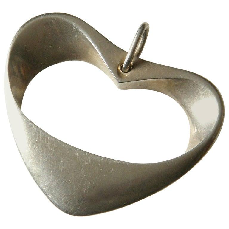 Henning Koppel for Georg Jensen Modernist Sterling Heart Pendant For Sale