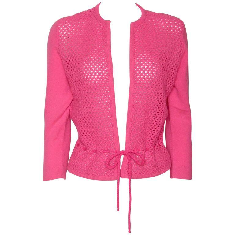 Shocking Pink Cashmere Cardigan