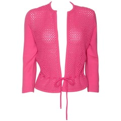 Dalton Shocking Pink Cashmere Cardigan Fishnet Sweater with Waist Tie