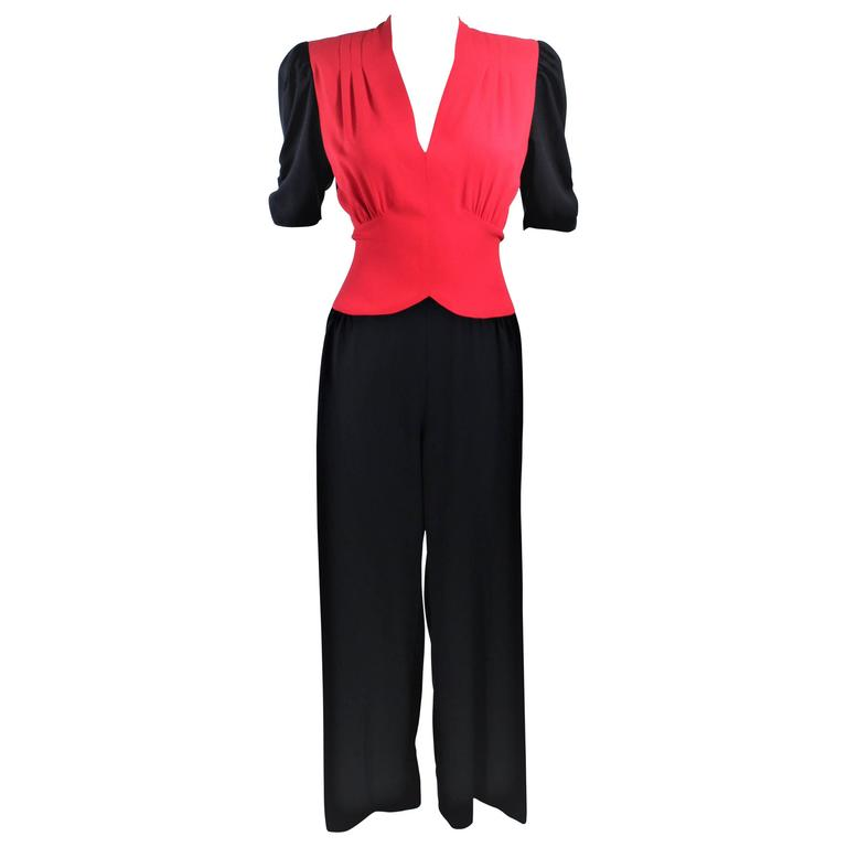 NORMA KAMALI Black and Red Silk Color Block Jumpsuit Size 6
