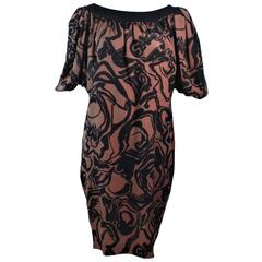 YVES SAINT LAURENT Brown Silk Abstract Floral Dress Size 36