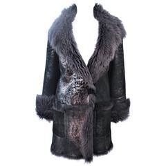 HUGO BOSS Gun Metal Metallic Lamb Coat Size 8