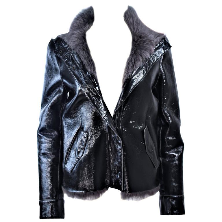 COSTUME NATIONAL Black Patent Leather Grey Goat Jacket Size 6 8