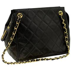 CHANEL Caviar Small Chain Shoulder Bag Black Quilted Lambskin