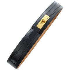 MINT. Vintage HERMES black box calf leather Kelly belt. Stamp V in O, 1992.