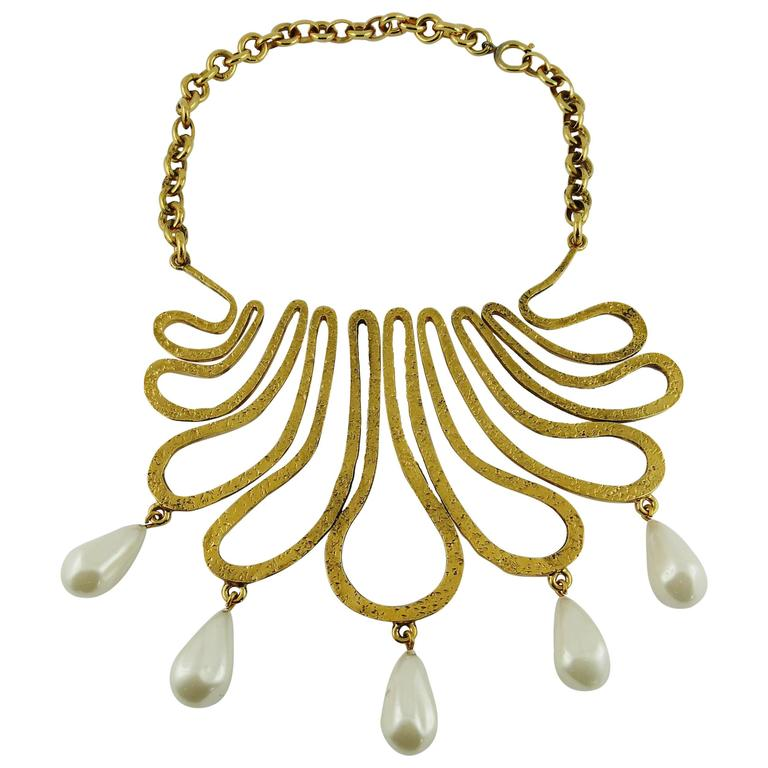 Chanel Vintage 1990s Gorgeous Gold Toned Arabesque Bib Necklace For Sale