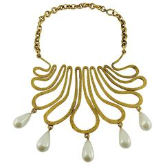 Chanel Vintage 1990s Gorgeous Gold Toned Arabesque Bib Necklace