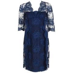 1958 Jean Desses Demi-Couture Navy Rose-Garden Lace Shelf-Bust Cocktail Dress
