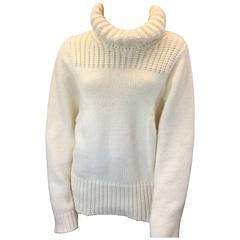 Stella McCartney White Chunky Knit Sweater with High Neck