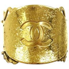 Chanel RARE Vintage Gold Filigree Oversize Charm Cut Out Evening Cuff Bracelet