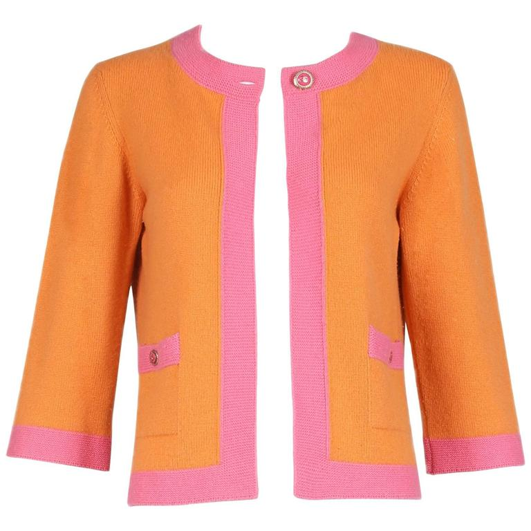 2007 Chanel Orange Cashmere Cardigan W/Chanel CC Logo Buttons & Pink Trim For Sale