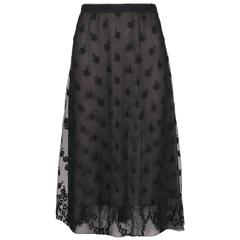 1995 A/H Chanel Black Knee-Length Silk, Lace & Tulle Floral Print A-Line Skirt
