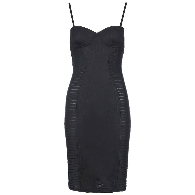 Vintage Jean-Paul Gaultier Black Bustier Bodycon Dress