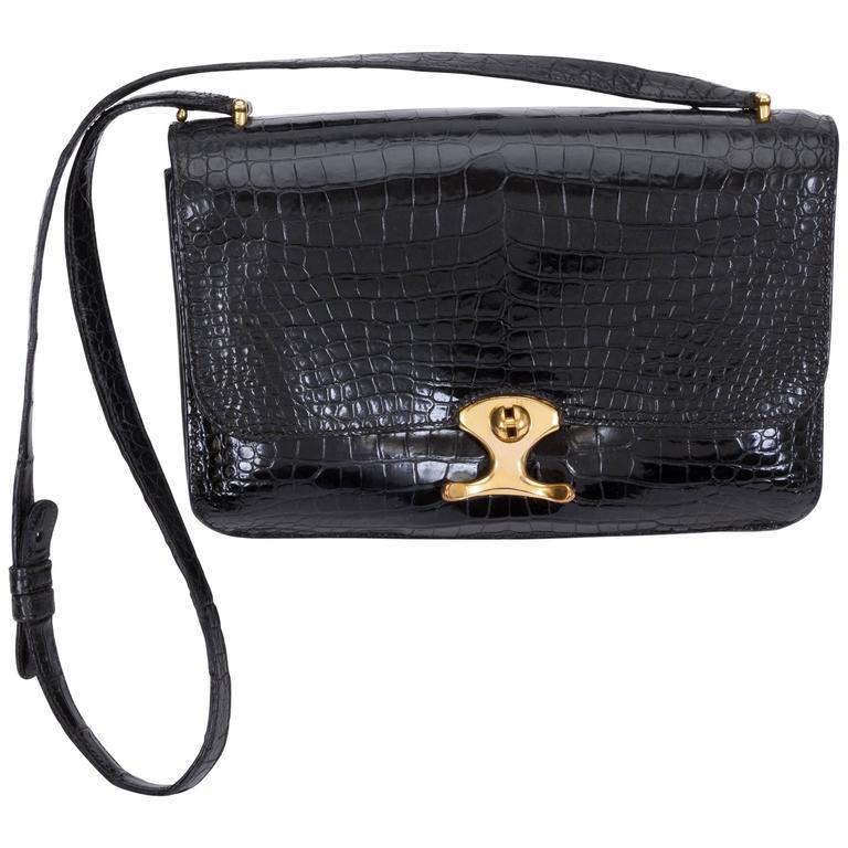 1980's Hermes Black Crocodile Shoulder Bag