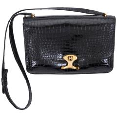 1980's Hermes Black Crocodile Shoulder Bag