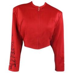 Vintage JOHN RICHMOND Jacket Size M Red Wool Cropped DESTROY Sleeves