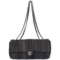 Chanel Grey Python Single Flap Bag