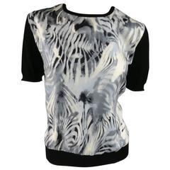 SALVATORE FERRAGAMO Shirt Pullover Size XL Black Wool Gray Silk Short Sleeve