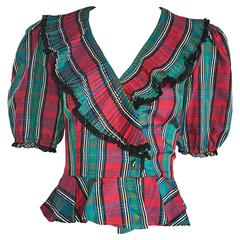 Chic 1970s Red and Green Plaid Taffeta + Lace Victorian Revival Vintage Blouse