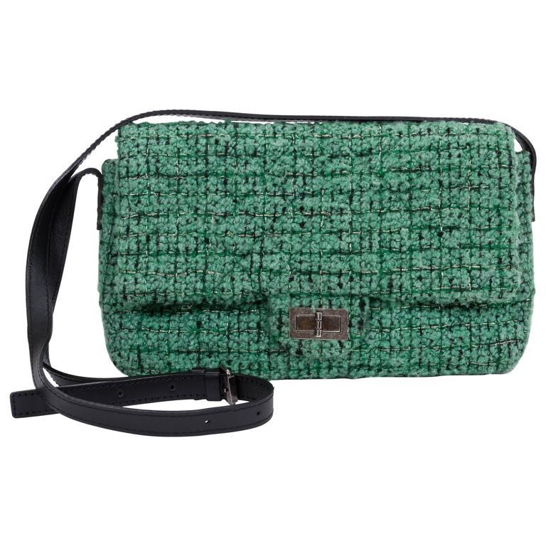 Chanel Green Tweed Crossbody Flap Bag