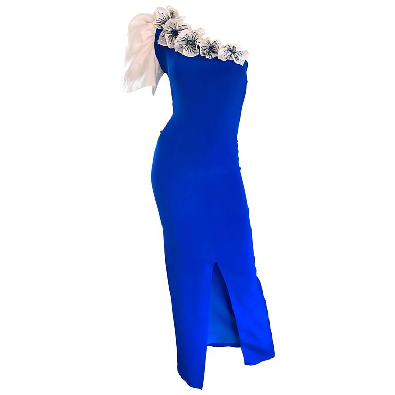 Amazing Vintage Couture Royal Blue One Shoulder Avant ... - photo#17