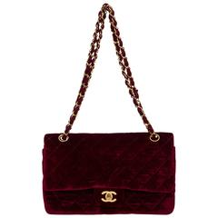 """Chanel Burgundy Velvet Double Flap 10"""""""