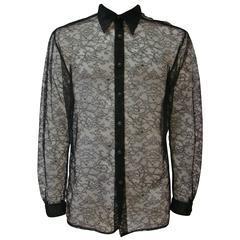 Iconic Gianni Versace Silk Lace Punk Collection Shirt Spring 1994