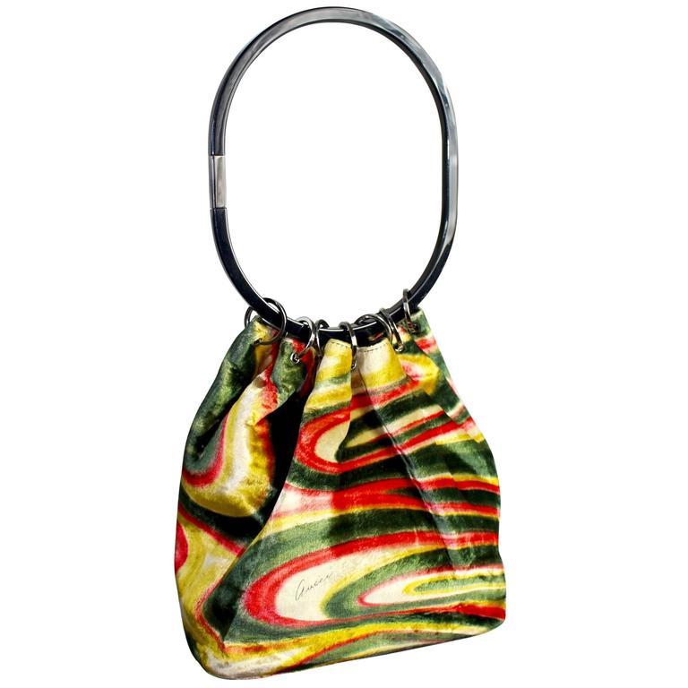 FW 1999 Gucci by Tom Ford  Runway Psychedelic Swirl Silk Velvet Hoop Bucket Bag