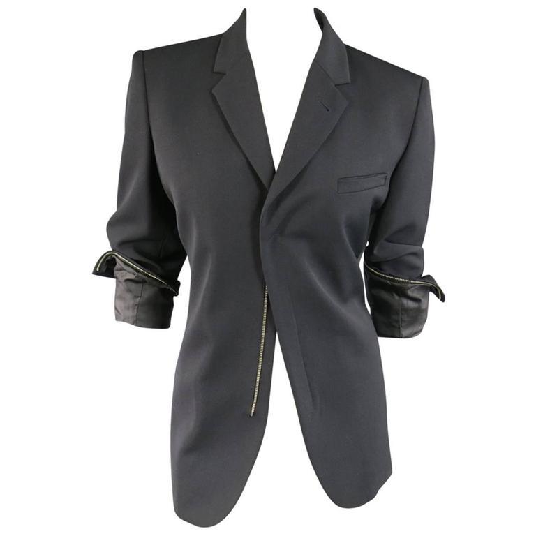 JEAN PAUL GAULTIER Size 8 Black Wool Blend Zip Cuff Sport Coat Jacket
