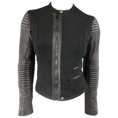 PAUL SMITH Jacket - Size L Black Quilted Wool Leather Sleeve Biker