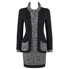 CHANEL A/W 1993 Haute Couture Classic Black White Boucle Wool Jacket Skirt Suit