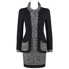 CHANEL c.1960's Haute Couture Classic Black White Boucle Wool Jacket Skirt Suit