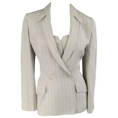 Vintage THIERRY MUGLER Jacket & Vest Size 6 Beige Blue Pinstripe Double Breasted