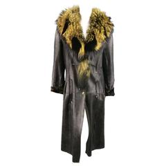 ROBERTO CAVALLI Size 8 Black & Tan Shearling Detachable Racoon Fur Collar Coat