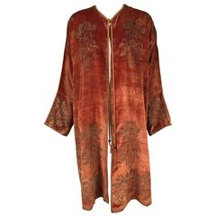 Fortuny Gold Stenciled Cinnamon Velvet Coat