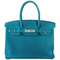 "Hermes Birkin 30 Togo Blue Izmir Handbag Purse in Box ""O"" Stamp"