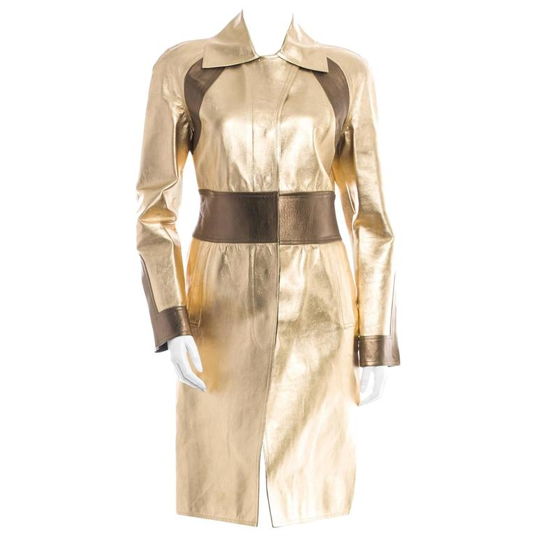 Gucci by Tom Ford Gold Color Block Leather Trench Coat Jacket
