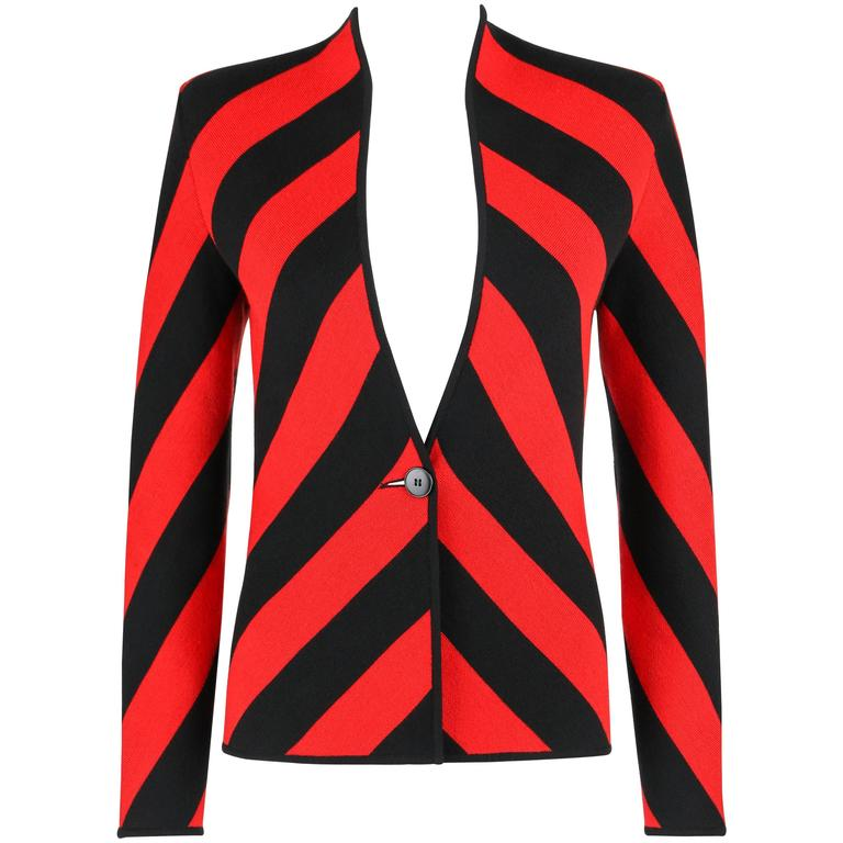 GIVENCHY COUTURE A/W 1998 ALEXANDER McQUEEN Black Red Stripe Wool Knit Blazer  1
