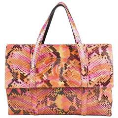 Chanel Pink Orange Multicolor Python Snakeskin 'CC' Top Handle Flap Clutch Bag
