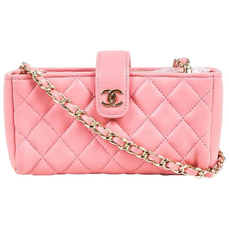 Pink leather chanel handbag