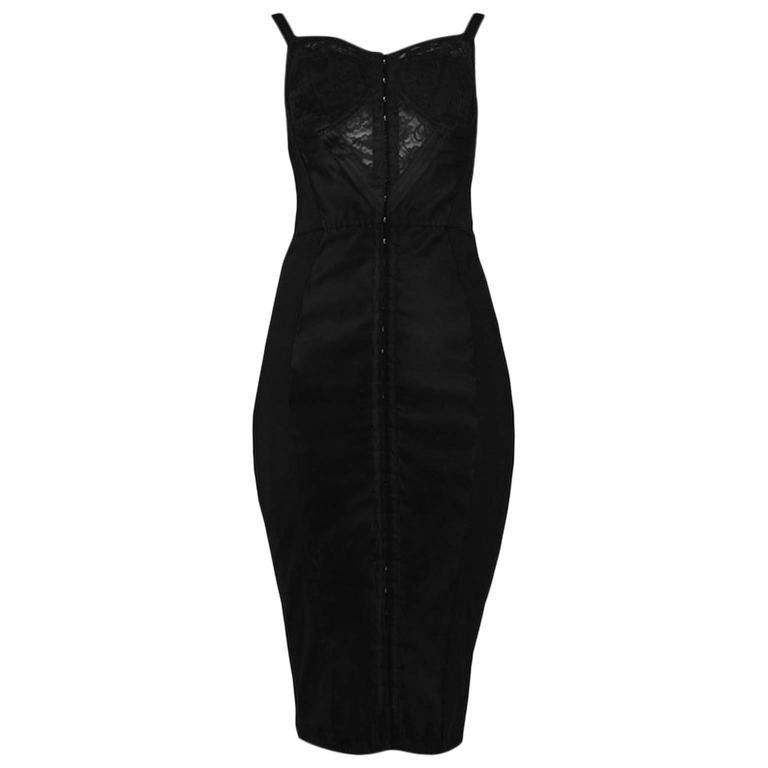 Dolce & Gabbana Black Bustier Dress with Lace 1