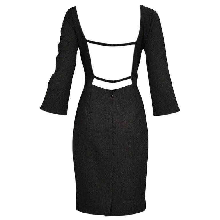 Dolce & Gabbana Grey Backless Dress 1998 For Sale