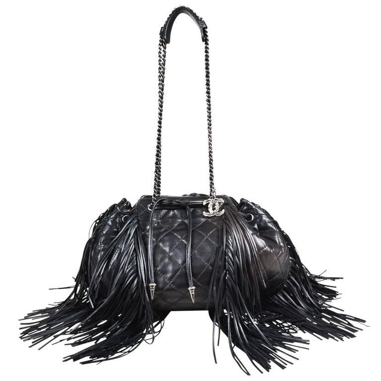 "Chanel Black Lambskin Leather Quilted ""Paris Dallas"" Drawstring Fringe Bag 1"