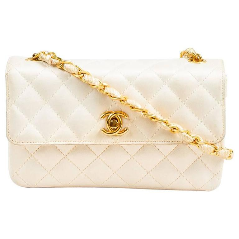 vintage chanel cream gold tone satin quilted woven chain strap shoulder flap bag at 1stdibs