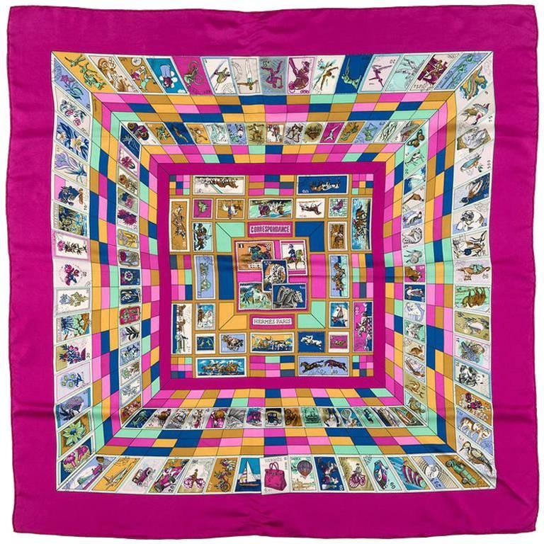 SO RARE Hermes Silk Scarf 'Correspondance' by Caty Latham For Sale