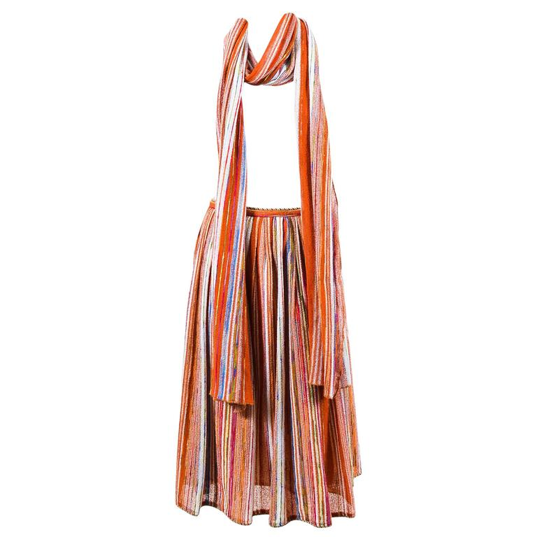 Vintage Lanvin Multicolor Striped Knit Pleated Midi Skirt With Scarf 1