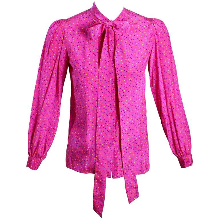 1970s Yves Saint Laurent Pink Confetti Print  Silk  Bow Tie Blouse YSL