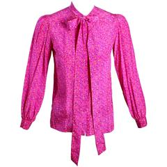 1970s Yves Saint Laurent Pink Confetti Print  Silk  Bow Tie Blouse YSL
